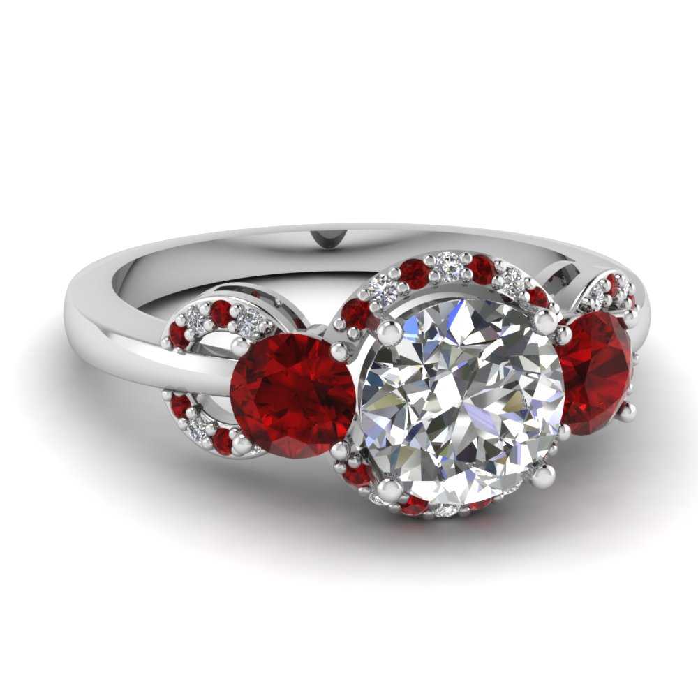 delicate 3 stone halo diamond engagement ring with ruby in FDENR9261RORGRUDR NL WG