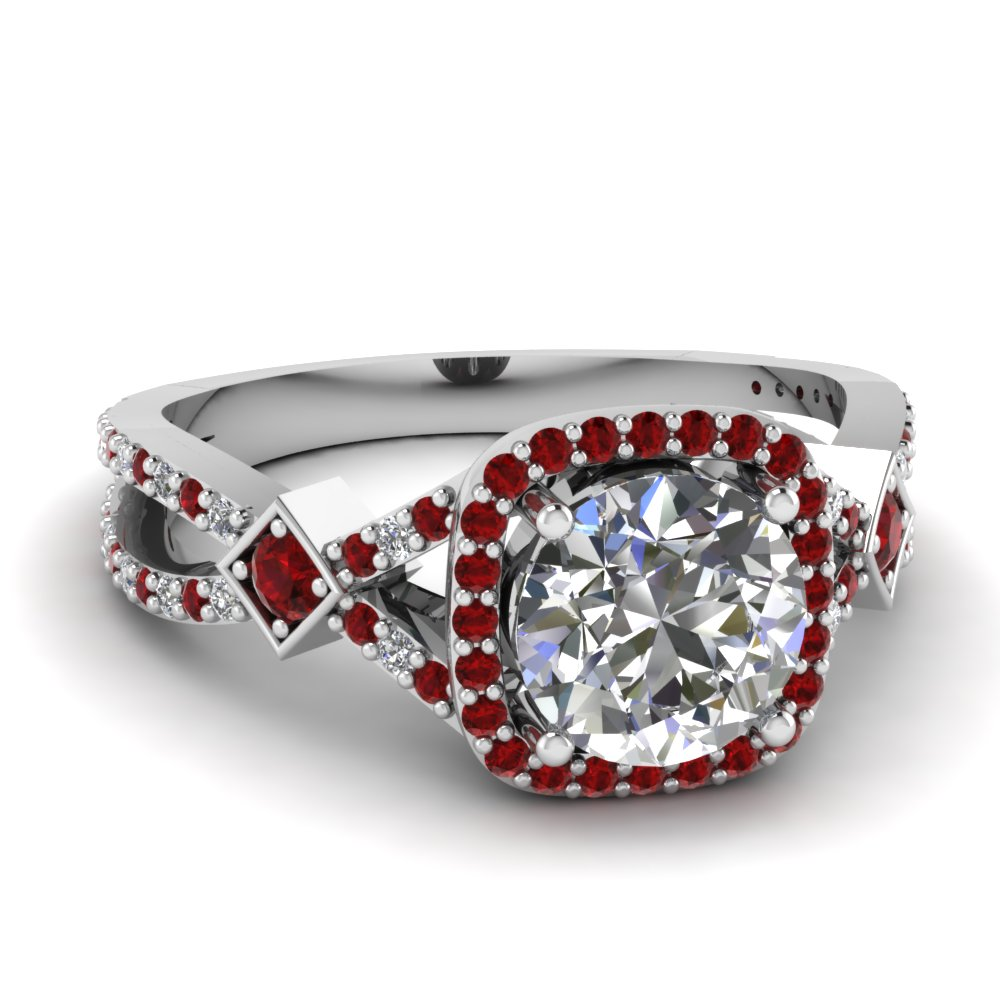 micropave ruby halo diamond engagement ring in FDENR9179RORGRUDR NL WG