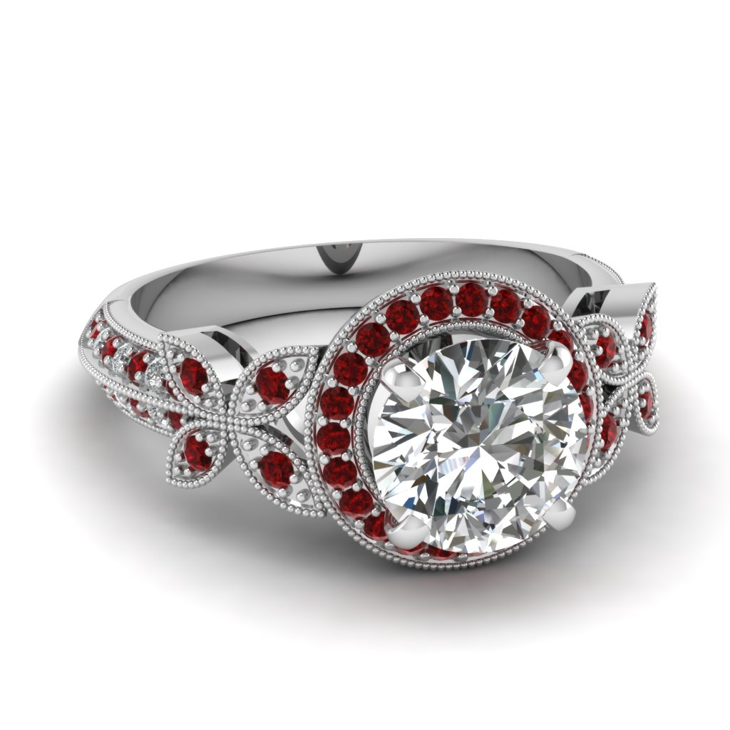 White Gold Round White Diamond Engagement Wedding Ring Red Ruby In