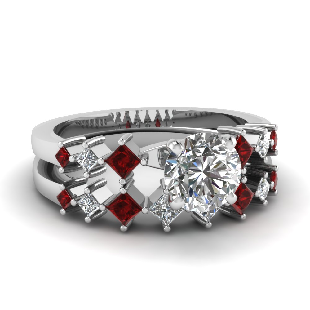 Kite Ruby 7 Stone Round Diamond Bridal Sets
