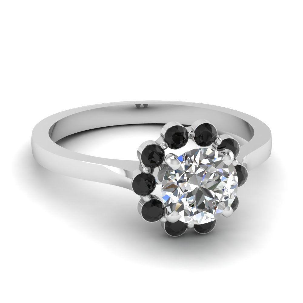 Floating black diamond halo flower engagement ring in 14k white gold floating black diamond halo flower engagement ring in fdens3137rorgblack nl wg mightylinksfo