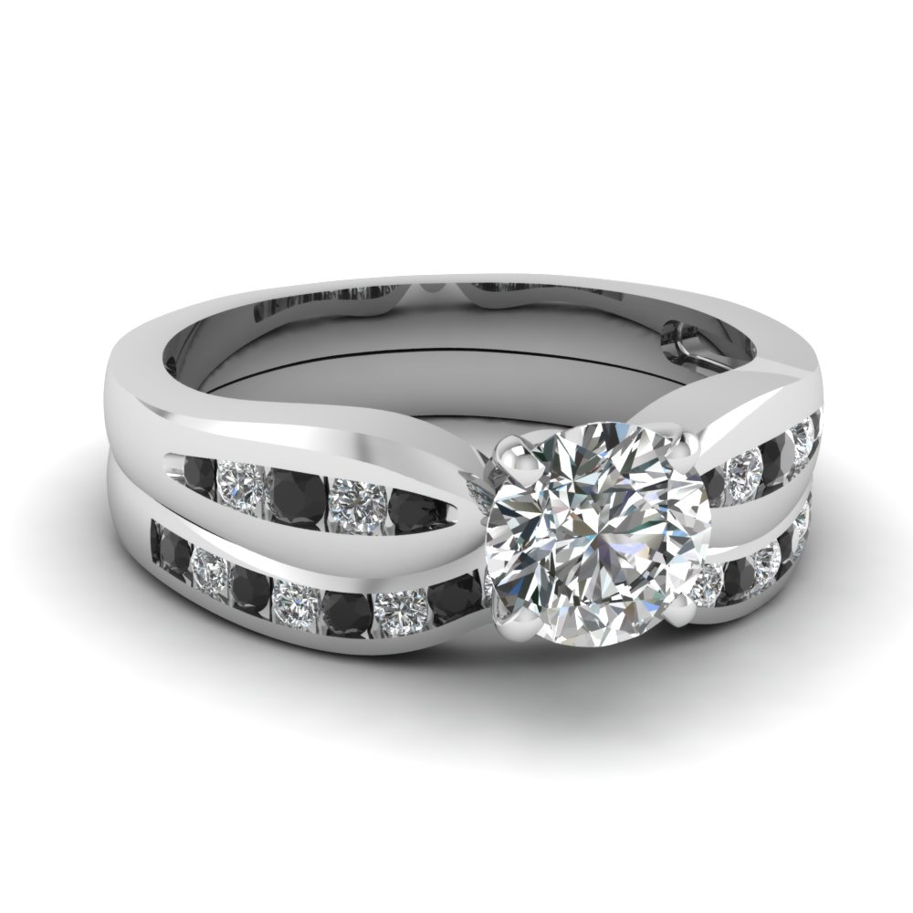 Round Cut Black Diamond Wedding Sets