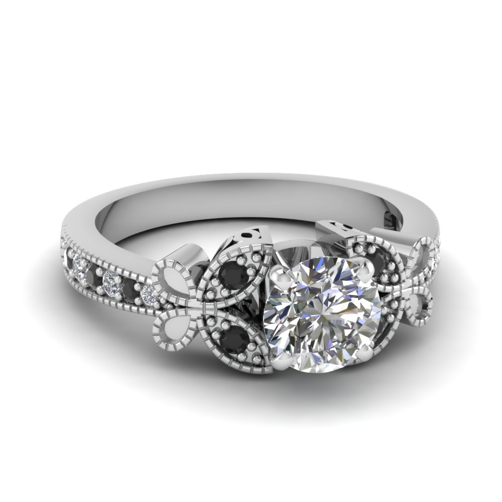white-gold-round-white-diamond-engagement-wedding-ring-with-black-diamond-in-pave-set-FDENS3077RORGBLACK-NL-WG