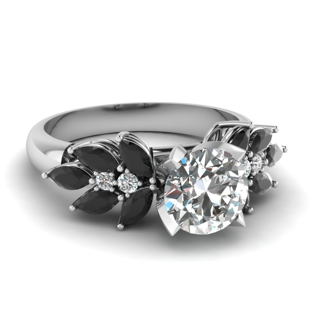 Leaf Style Black Diamond Engagement Ring