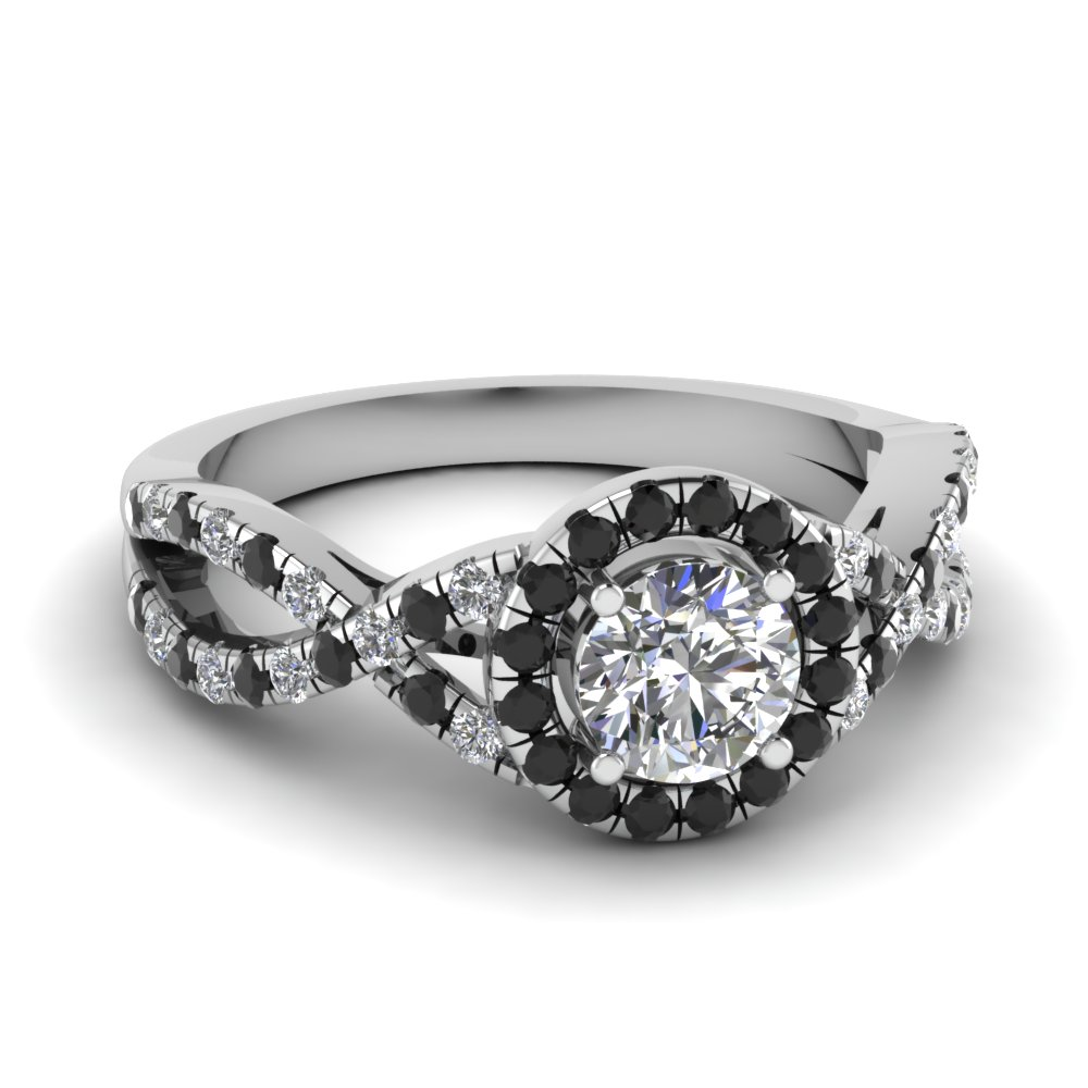 Entwined halo engagement ring with black diamond in 14k for White diamond wedding ring