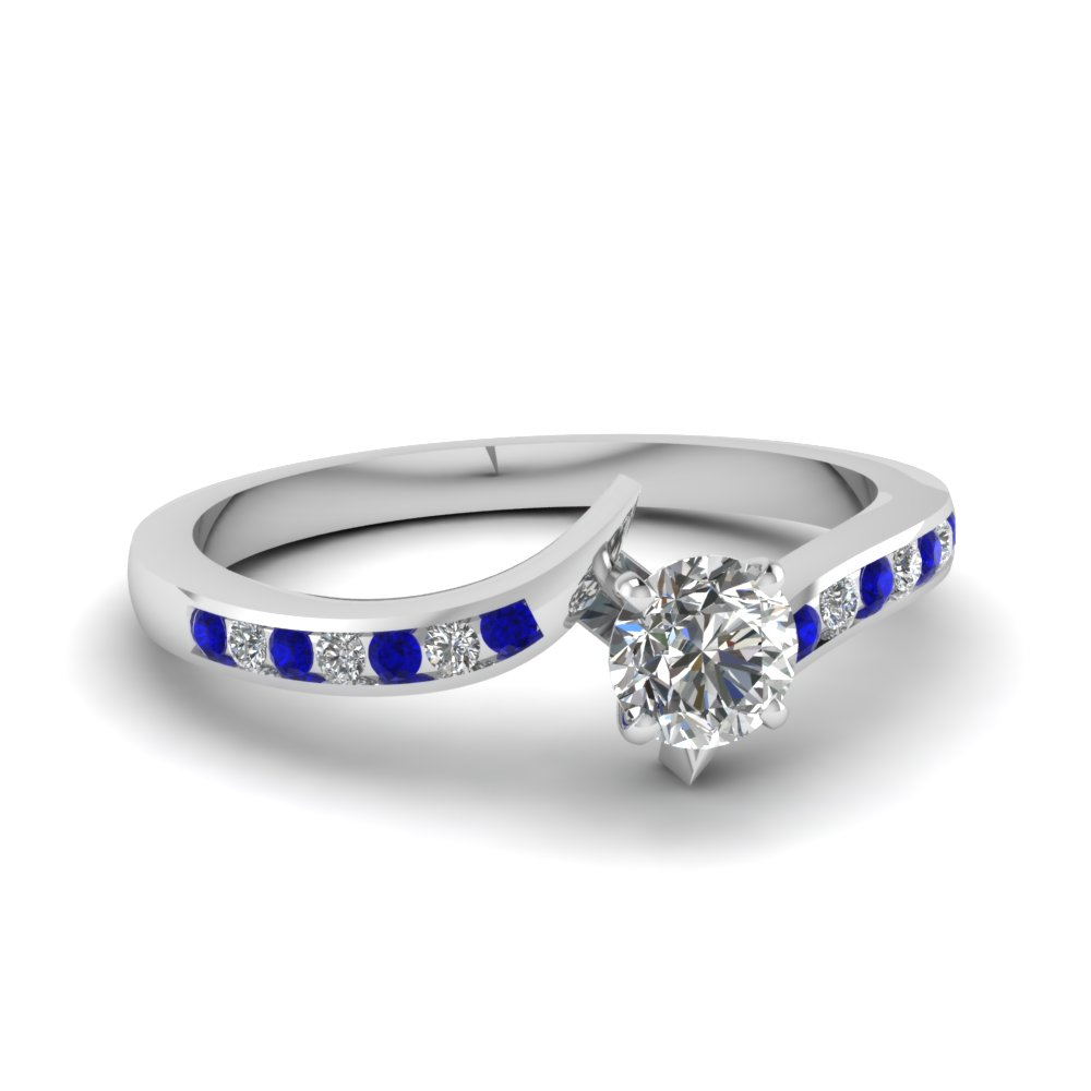 twist channel round diamond engagement ring with sapphire in FDENS3094RORGSABL NL WG 30