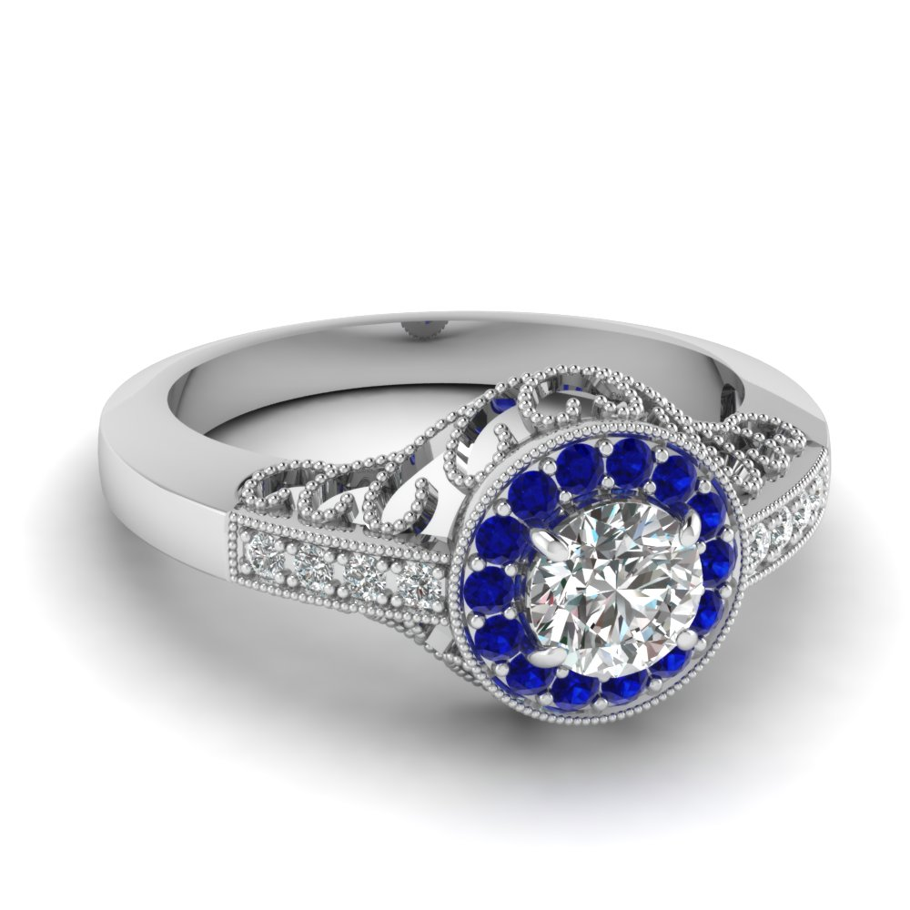 Milgrain Filigree Halo Ring