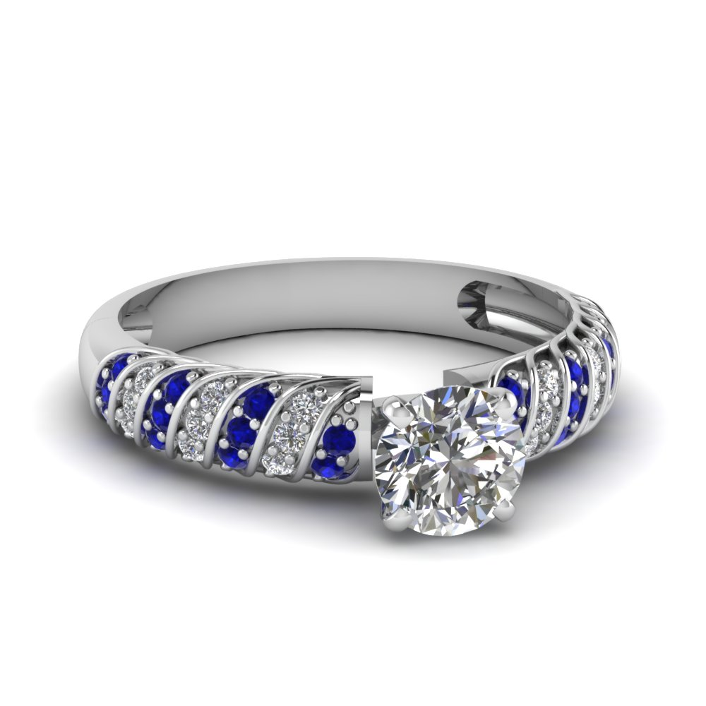 rope design round diamond engagement ring with sapphire in FDENS3048RORGSABL NL WG 30