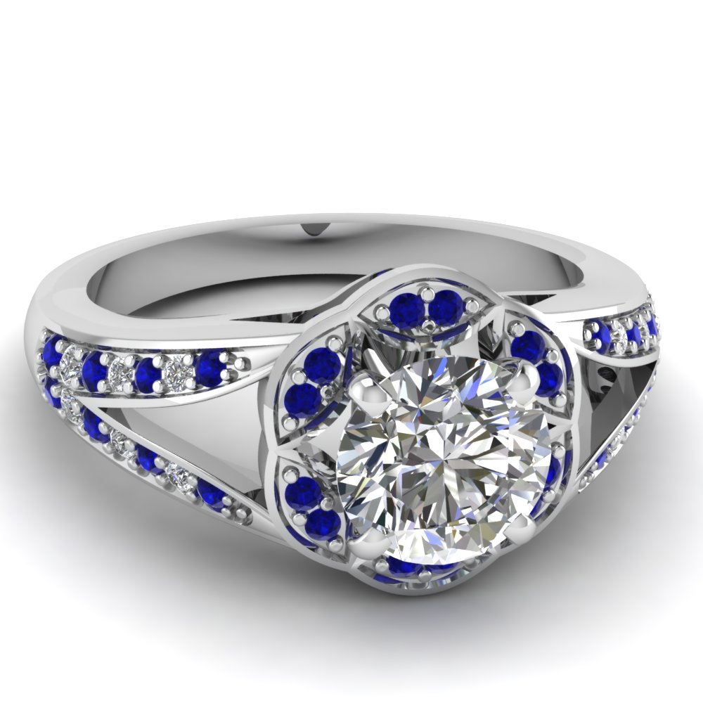 Round Slpit Shank Flower Shaped Sapphire Engagement Ring