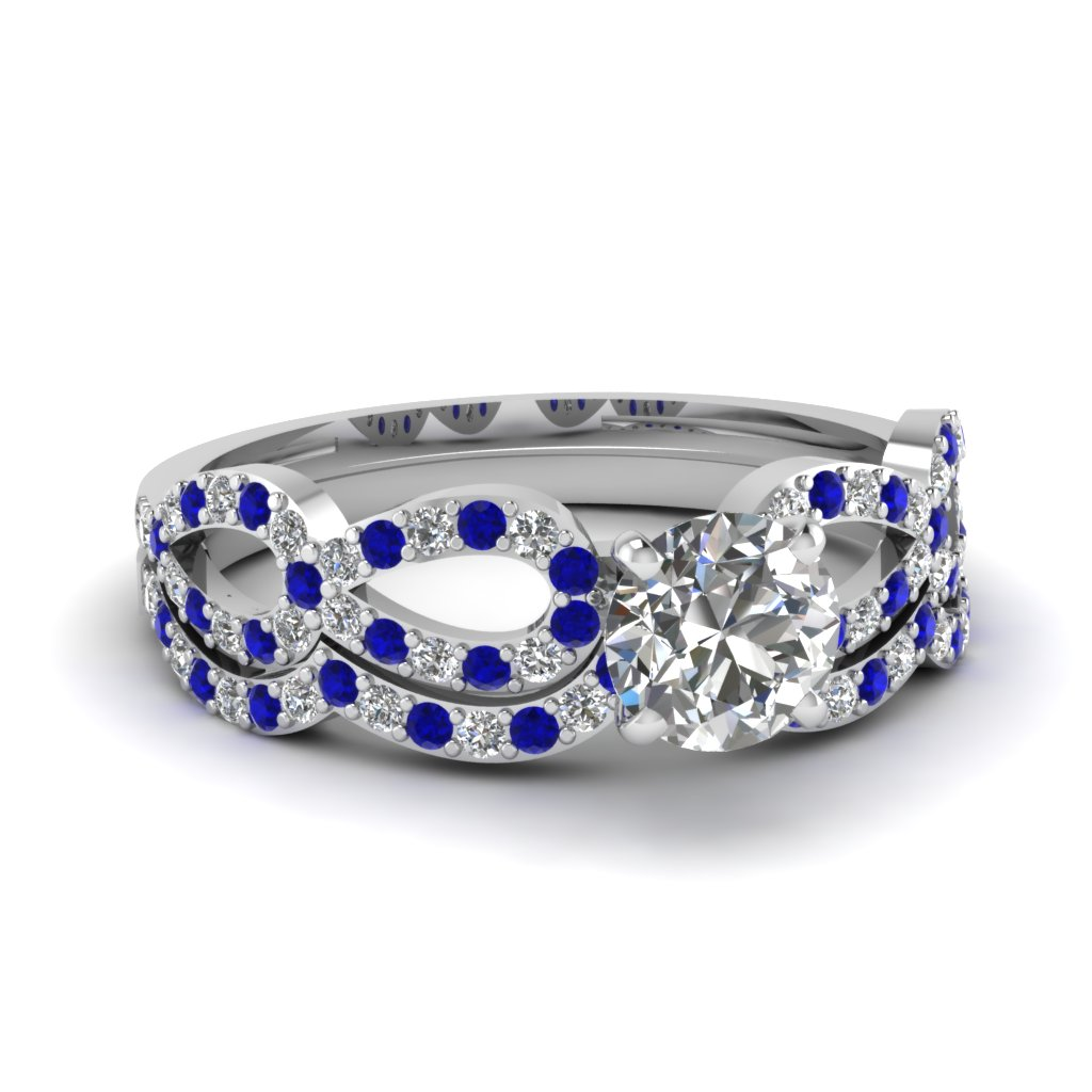 round diamond infinity loop bridal set with sapphire in FDENS3040ROGSABL NL WG 30