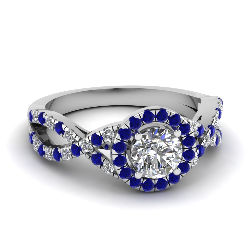 Entwined Halo Diamond Engagement Ring With Sapphire In 14k White