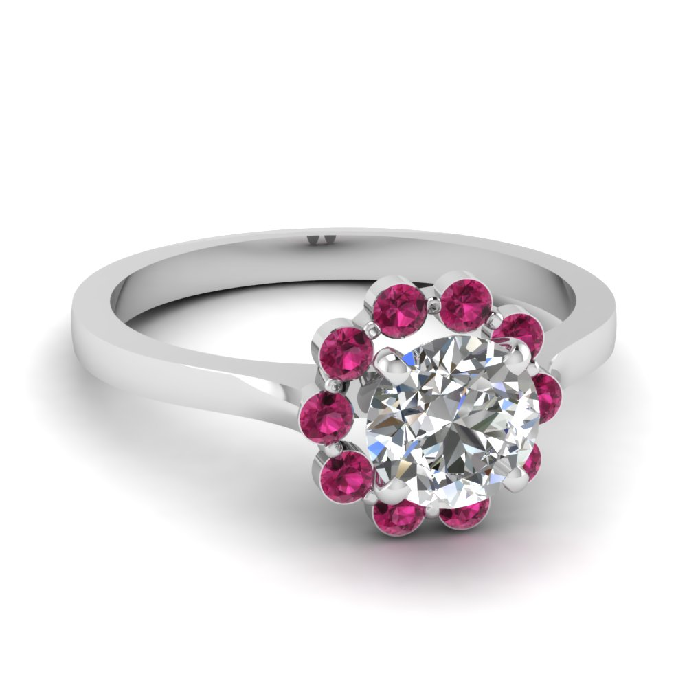 floating pink sapphire halo flower engagement ring in FDENS3137RORGSADRPI NL WG