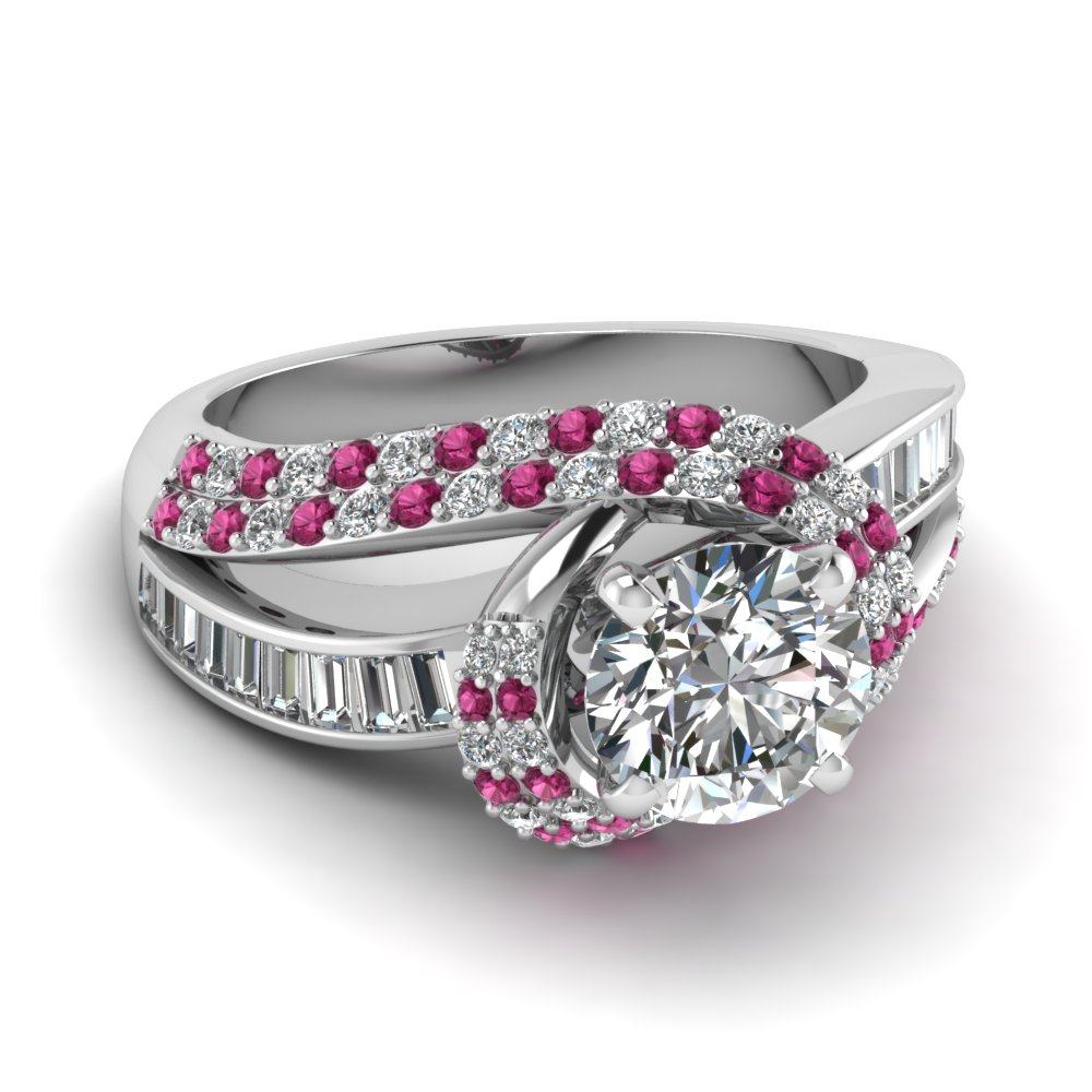 Round Cut Diamond Side Stone Engagement Rings With Pink Sapphire In 14k  White Gold