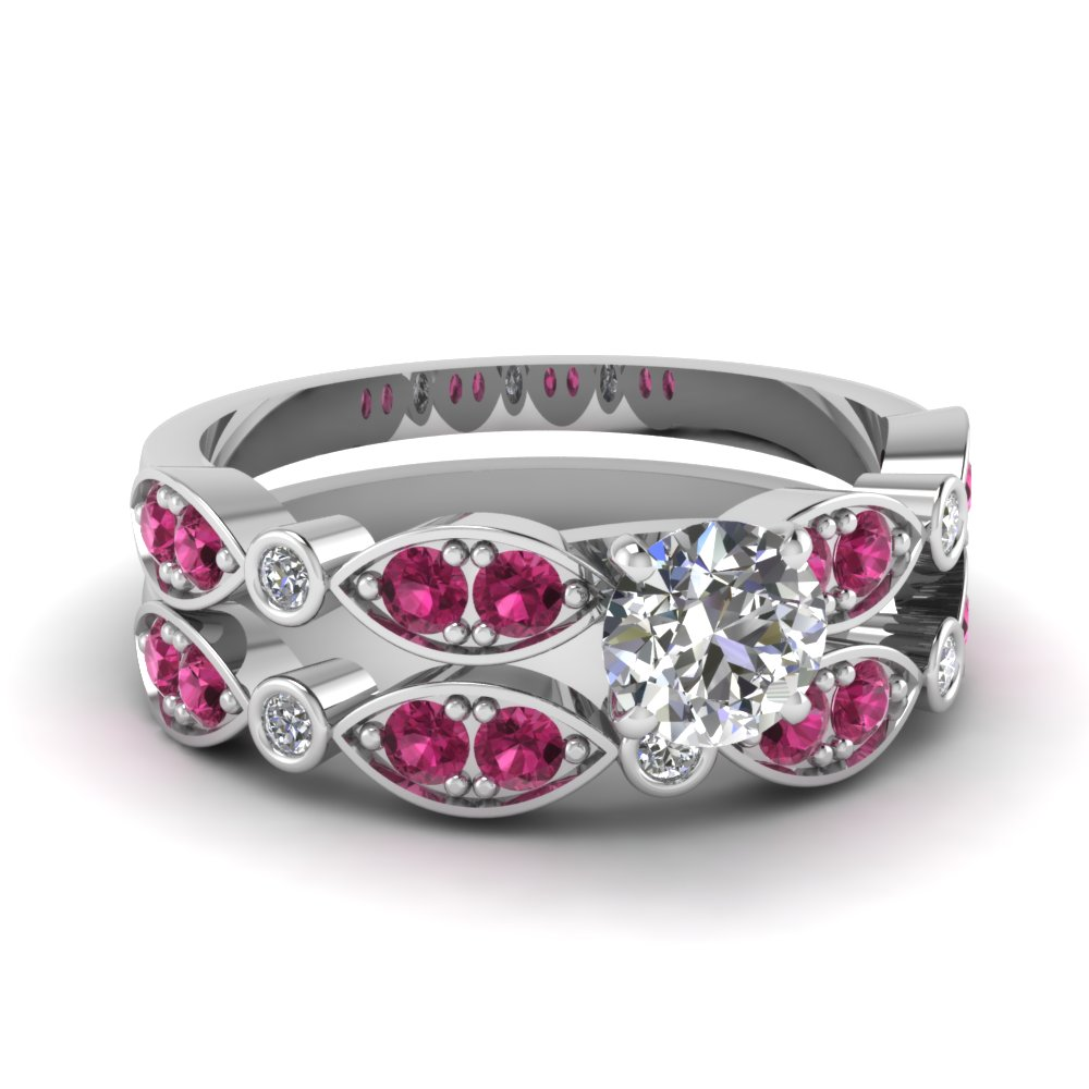 art deco round diamond wedding ring set with pink sapphire in FDENS2035ROGSADRPI NL WG
