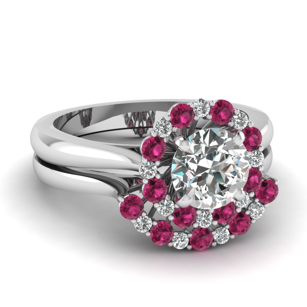 cathedral floating halo diamond wedding ring set with pink sapphire in FDENS3206ROGSADRPI NL WG