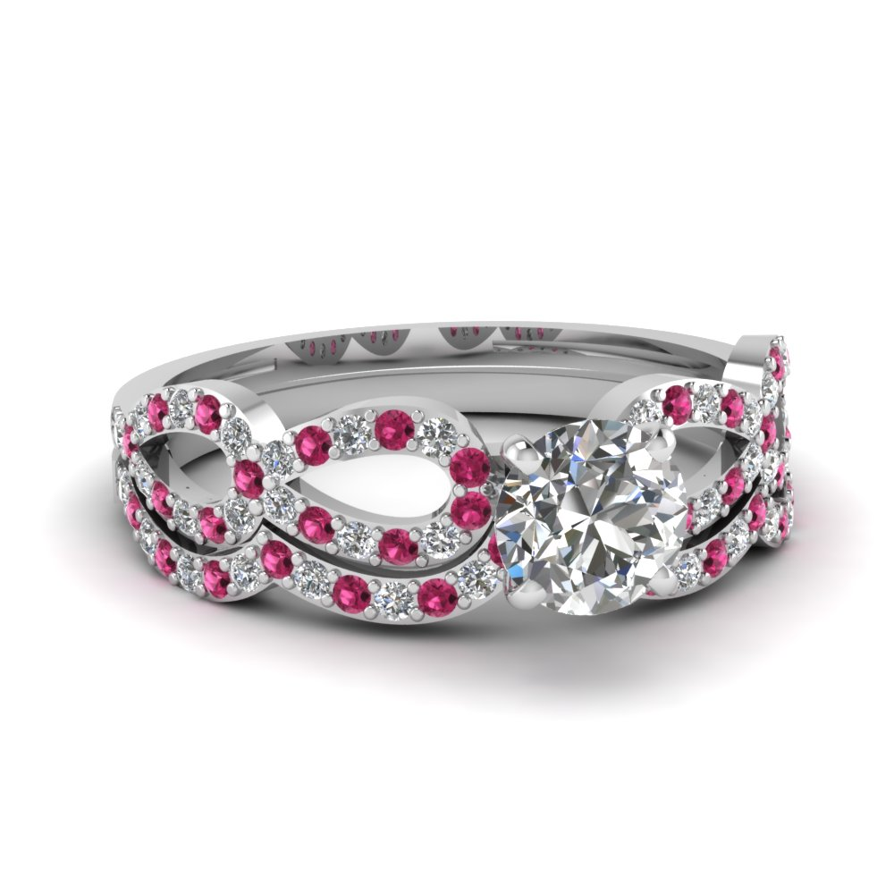 buy affordable pink sapphire wedding ring sets online - Affordable Wedding Ring Sets