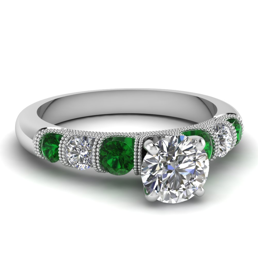 round milgrain prong bar set diamond engagement ring with emerald in FDENS1783RORGEMGR NL WG