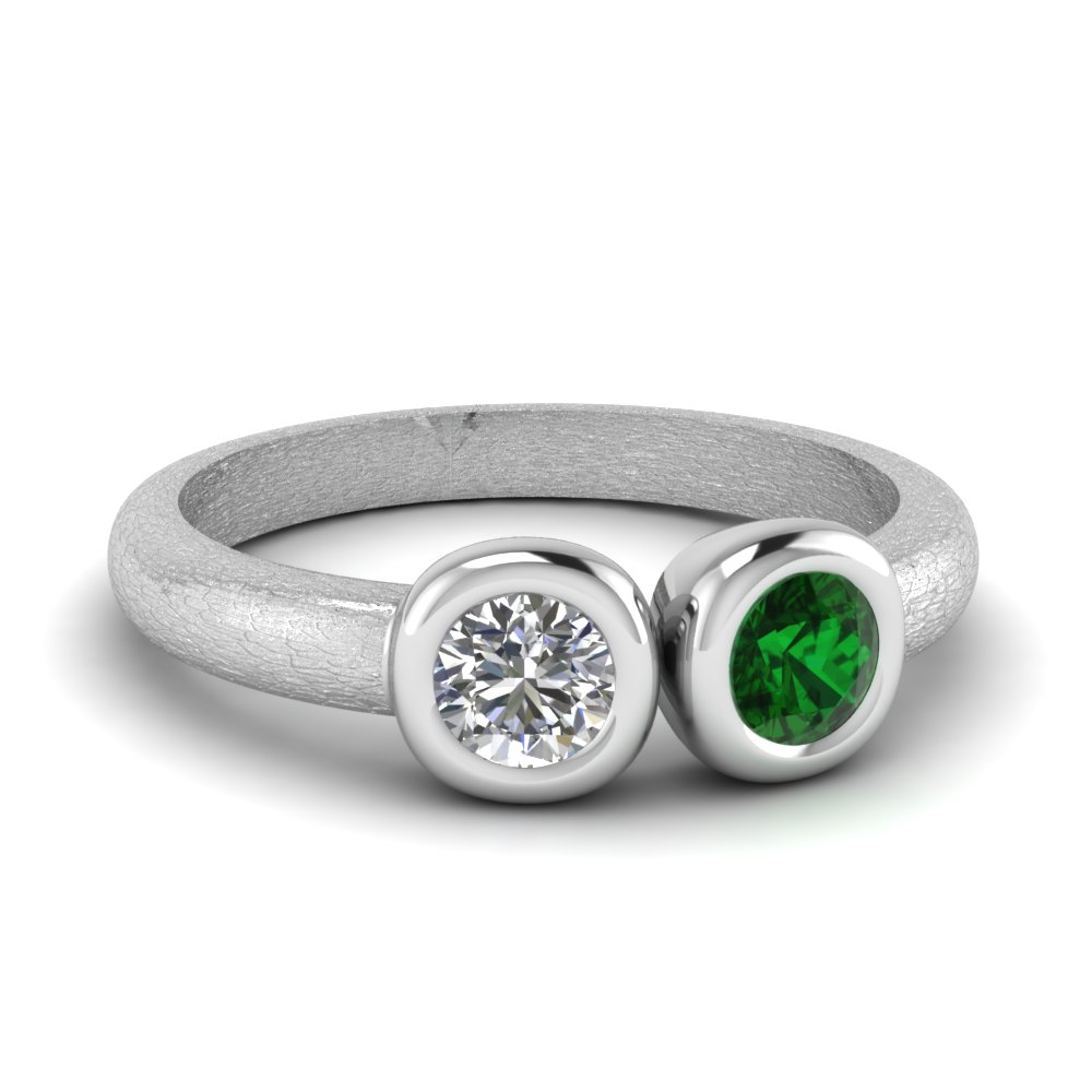 Bezel Set Emerald Side Stone Ring