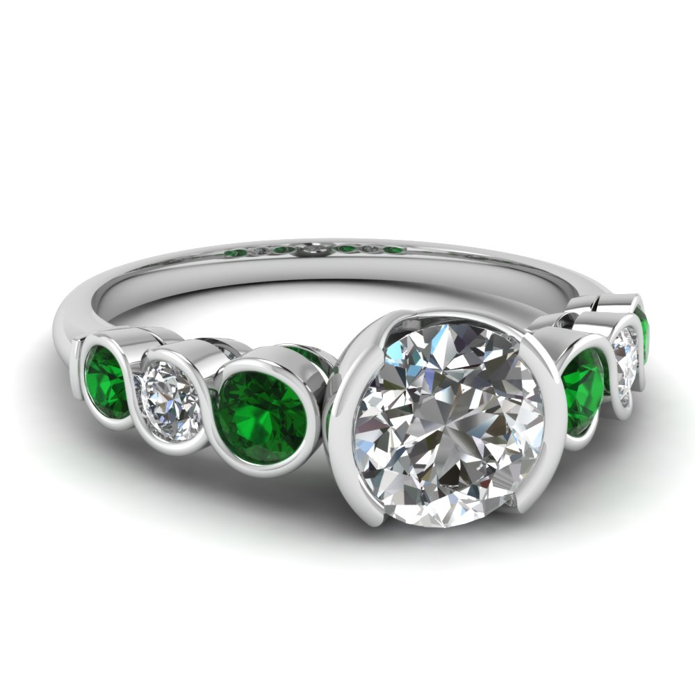 diamond bezel set 7 stone engagement ring with emerald in FD121996RORGEMGR NL WG