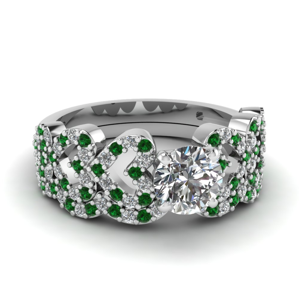 round cut heart design linked diamond wedding set with emerald in FDENS3051ROGEMGR NL WG.jpg