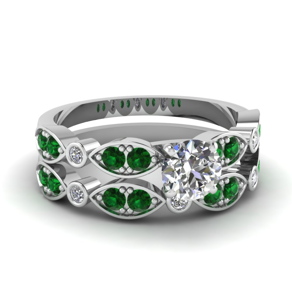 art deco round diamond wedding ring set with emerald in FDENS2035ROGEMGR NL WG