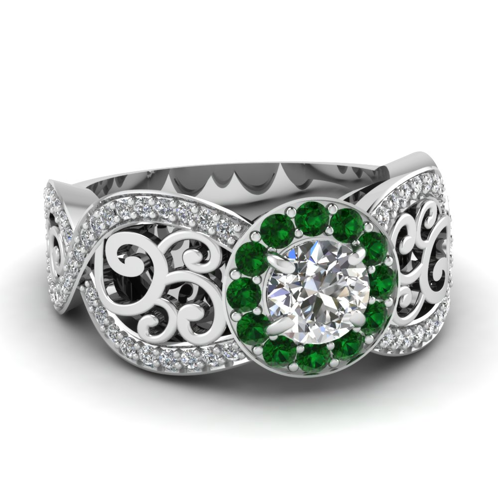 Filigree Round Halo Ring