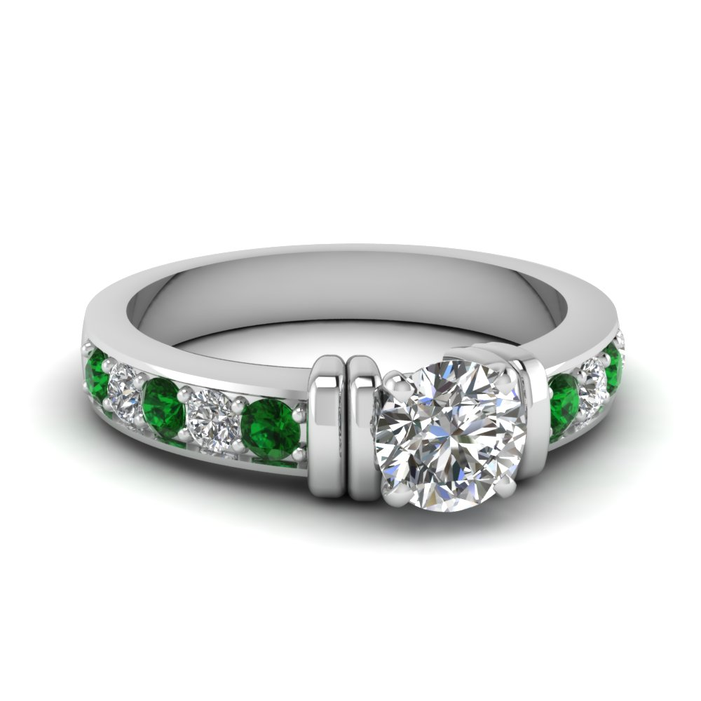 simple bar set round lab diamond engagement ring with emerald in FDENR957RORGEMGR Nl WG