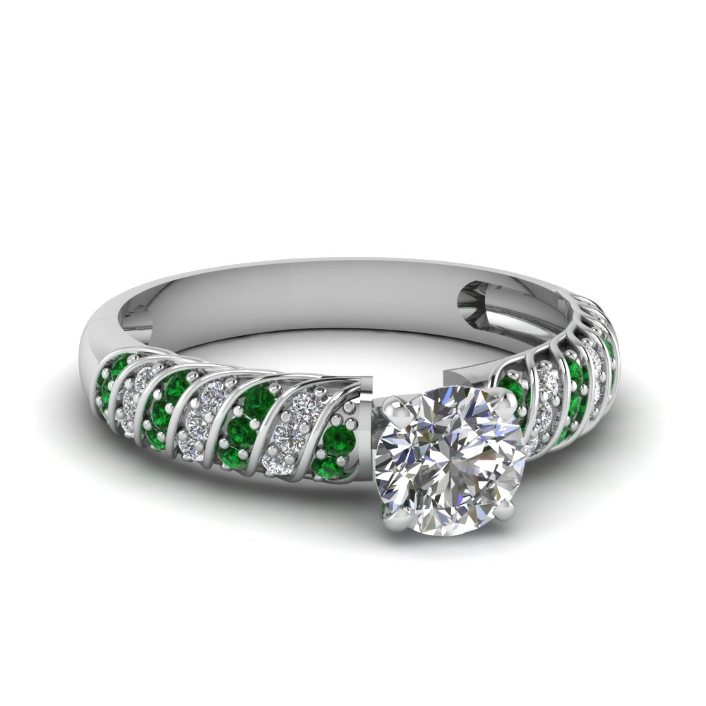 Rope Design Round Cut Engagement Ring