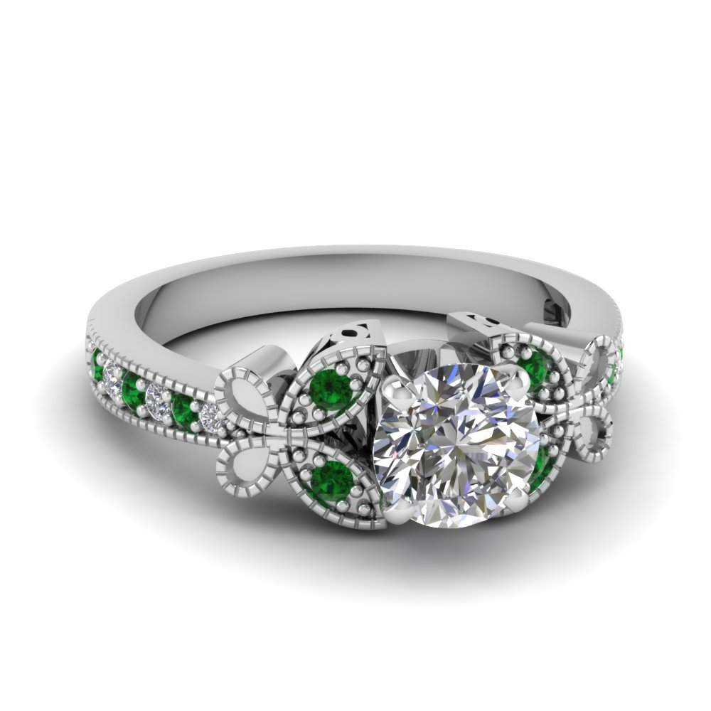 Round Diamond Emerald Ring