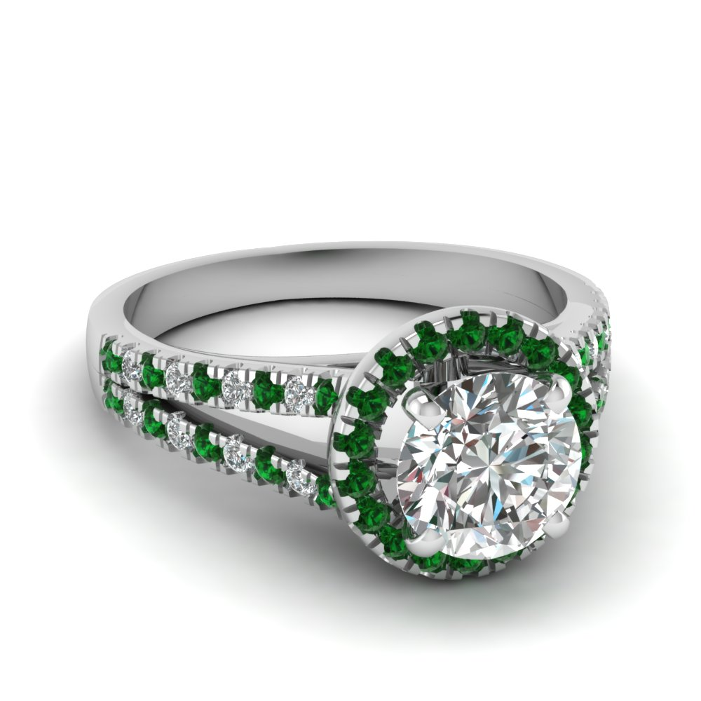 white-gold-round-white-diamond-engagement-wedding-ring-with-green-emerald-in-pave-set-FDENS3150RORGEMGR-NL-WG