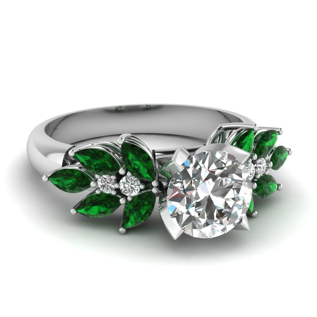 Round Cut diamond Side Stone Engagement Rings with Green Emerald in 14K  White Gold