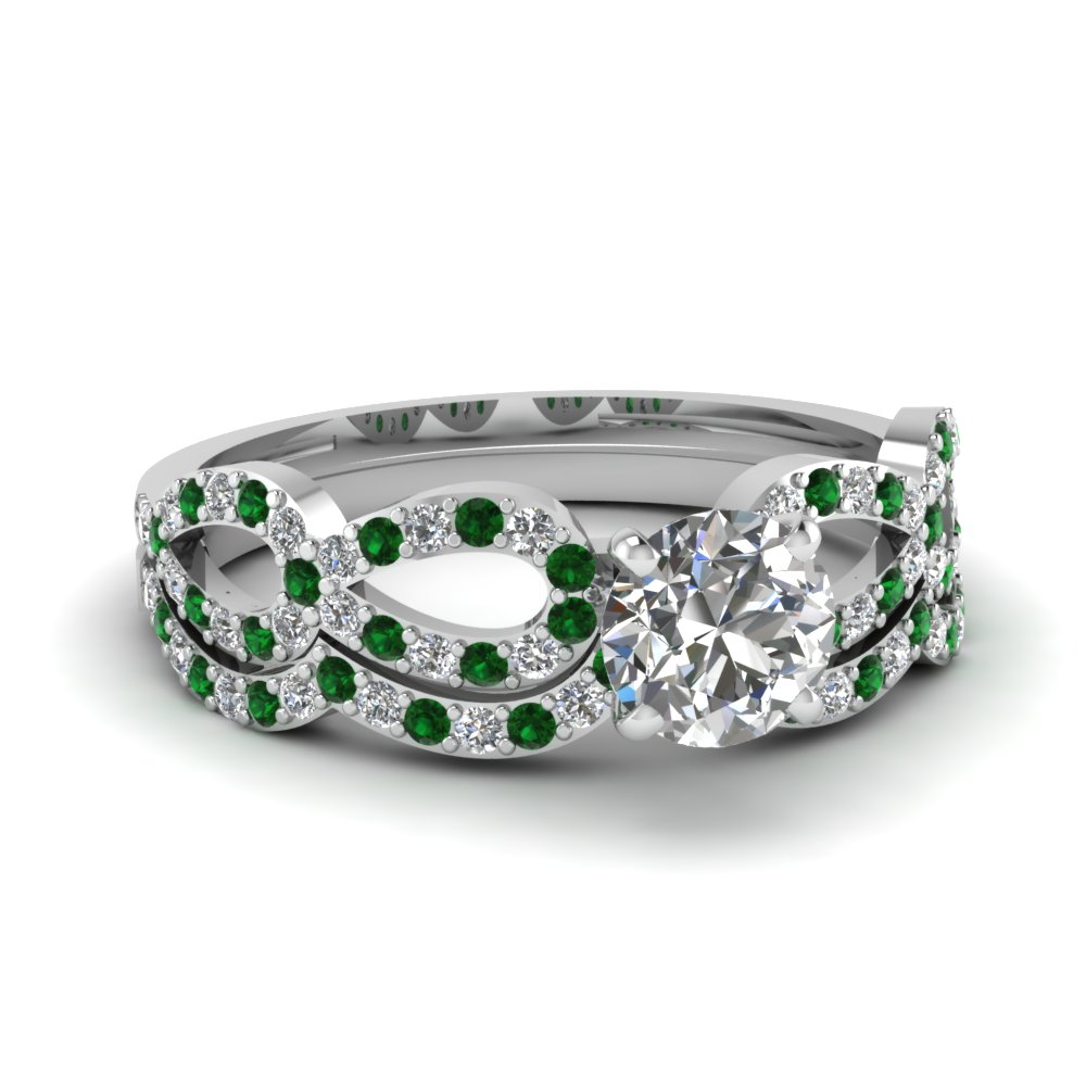 Infinity Loop Emerald Bridal Set