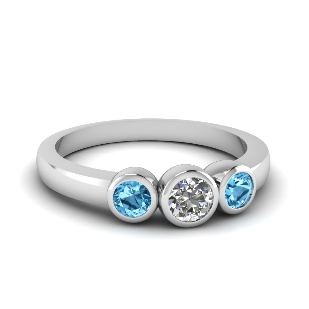 Diamond & Topaz Bezel Ring