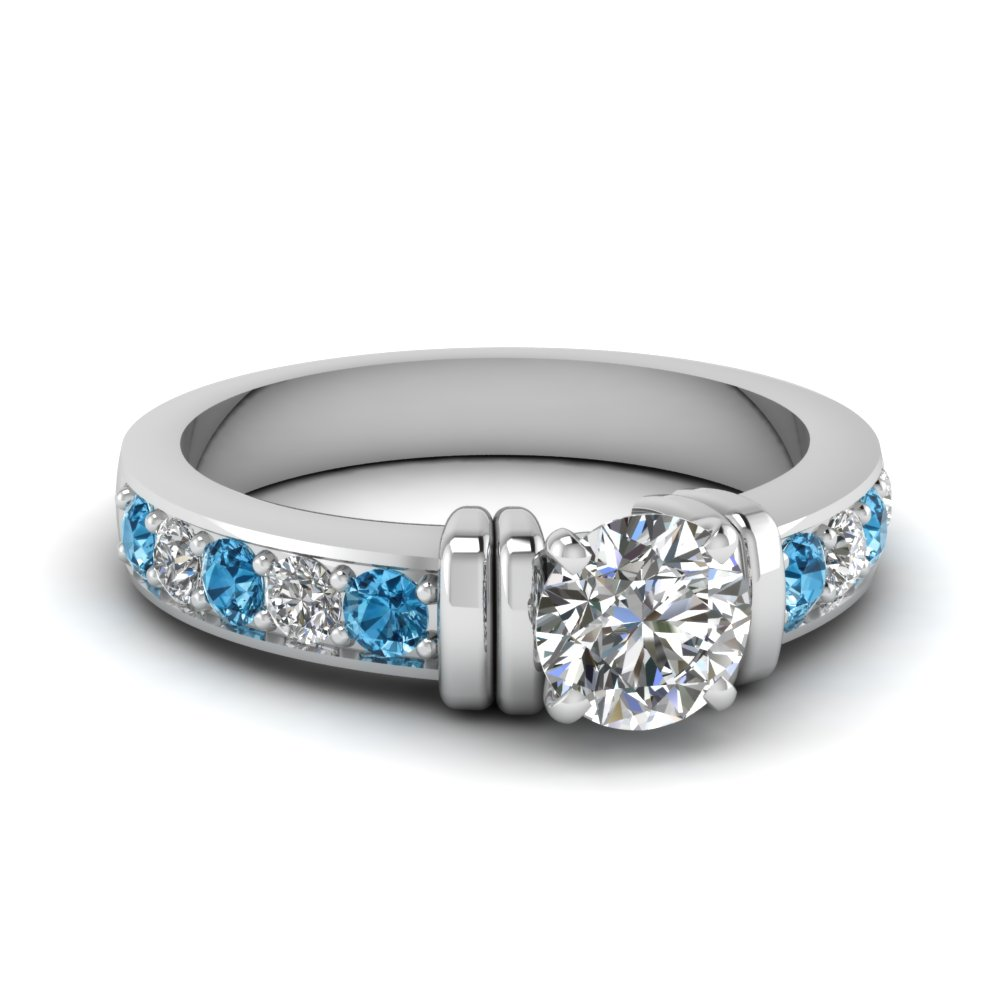 simple bar set round moissanite engagement ring with blue topaz in FDENR957RORGICBLTO Nl WG