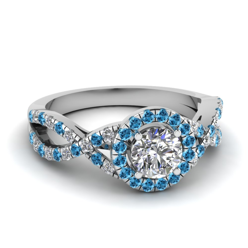 entwined halo diamond engagement ring with blue topaz in fdenr9320rorgicblto nl wg - Blue Topaz Wedding Rings