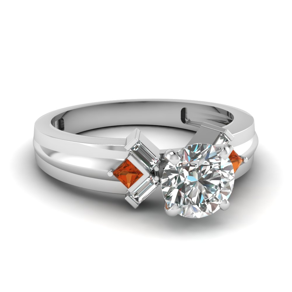 round cut bar baguette diamond engagement ring with orange sapphire in FD120699RORGSAOR NL WG