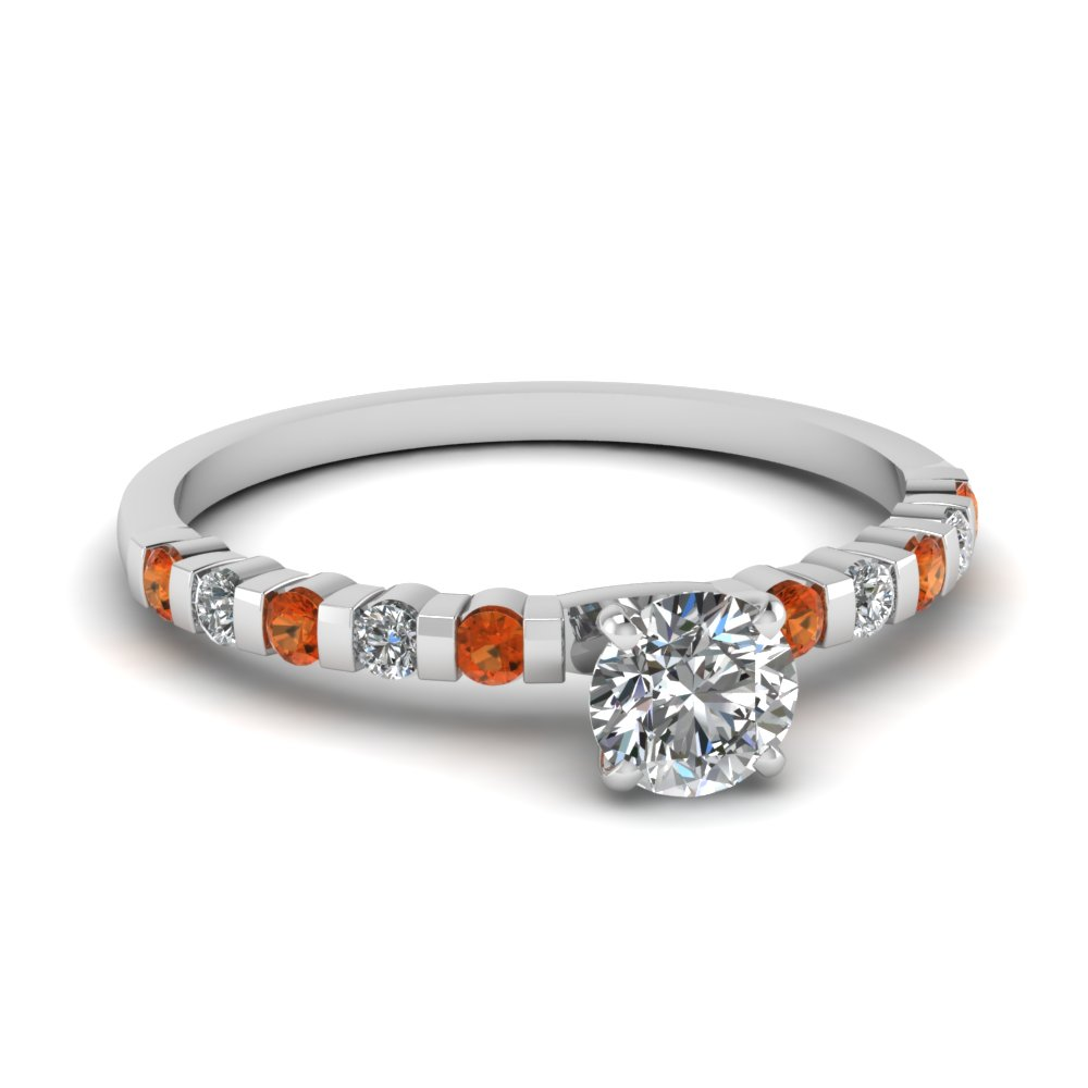 Orange Sapphire And Round Cut Diamond Engagement Ring