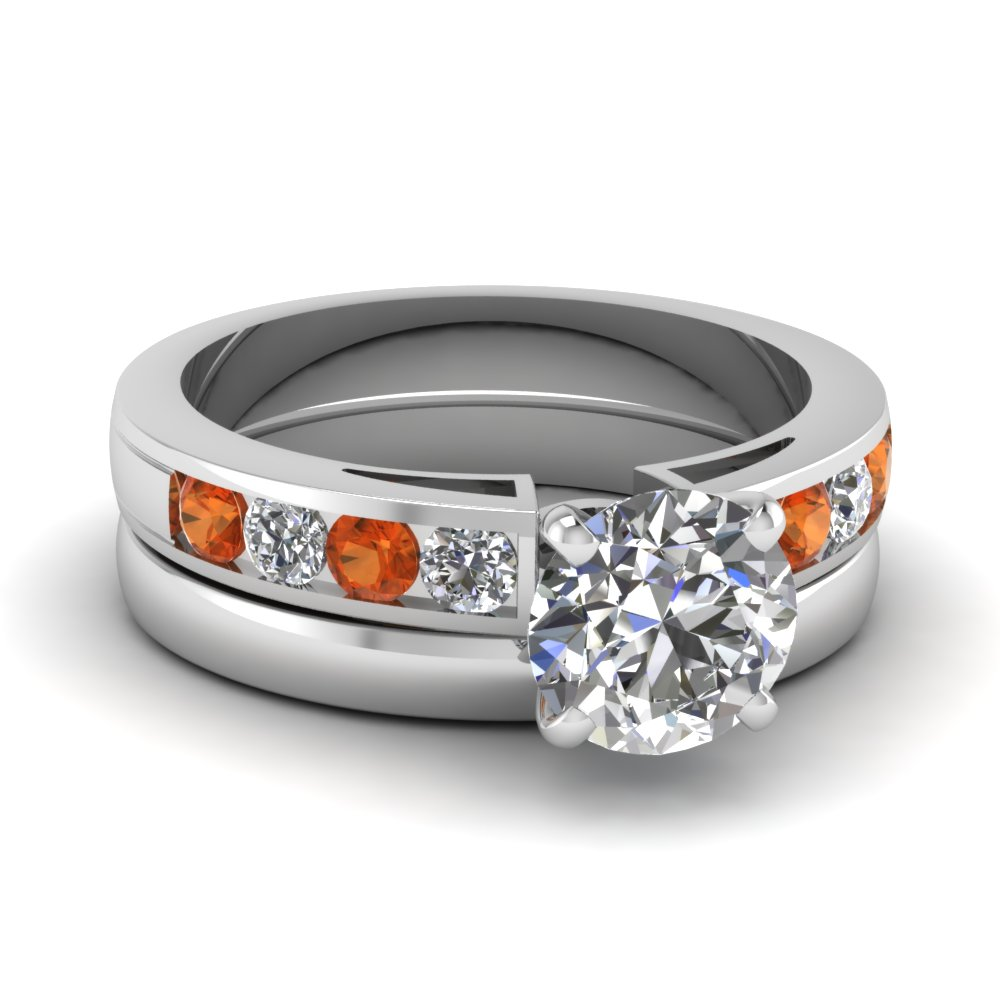 round cut channel diamond and orange sapphire ring with plain band in FD1030ROGSAOR NL WG