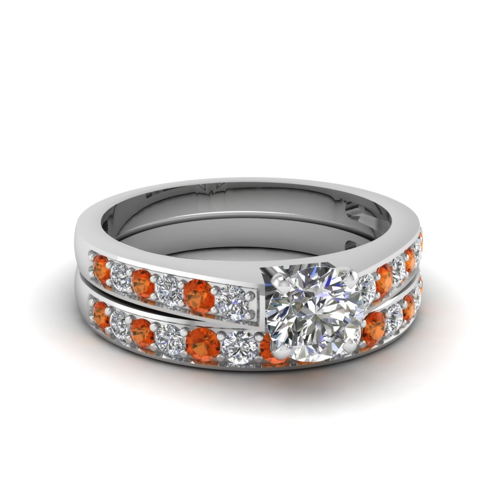 round cut pave diamond wedding ring set with orange sapphire in FDENS3002ROGSAOR NL WG 30