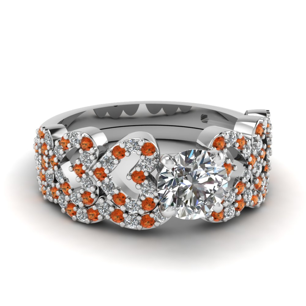 round cut heart design linked diamond wedding set with orange sapphire in FDENS3051ROGSAOR NL WG.jpg