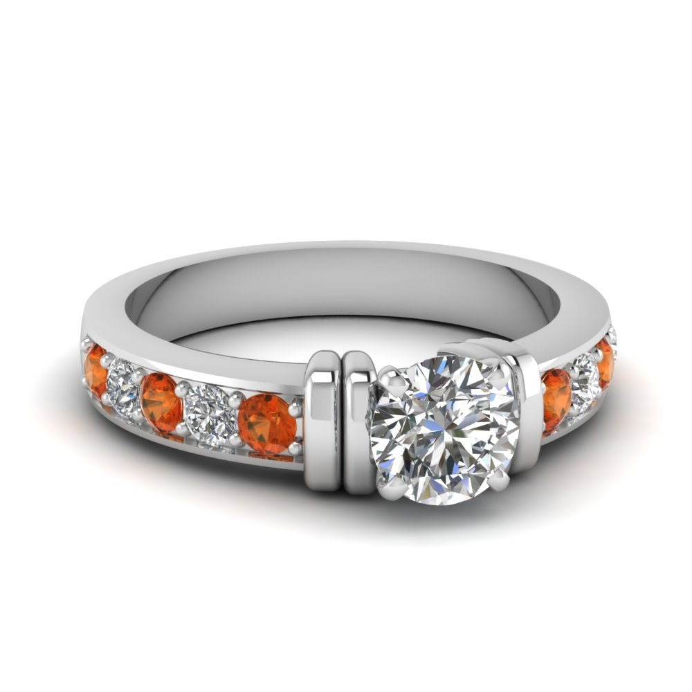 simple bar set round moissanite engagement ring with orange sapphire in FDENR957RORGSAOR Nl WG