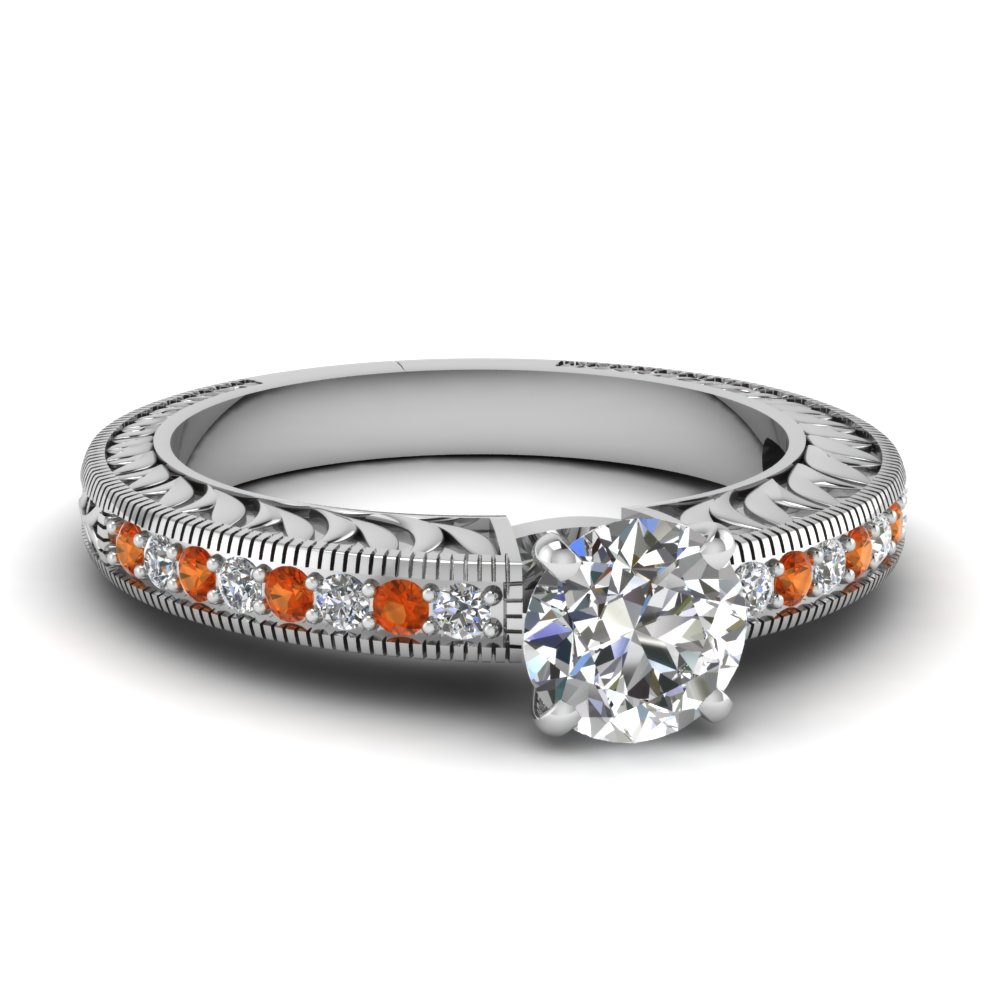 hand engraved round cut diamond vintage engagement ring with orange sapphire in FDENS1790RORGSAOR NL WG