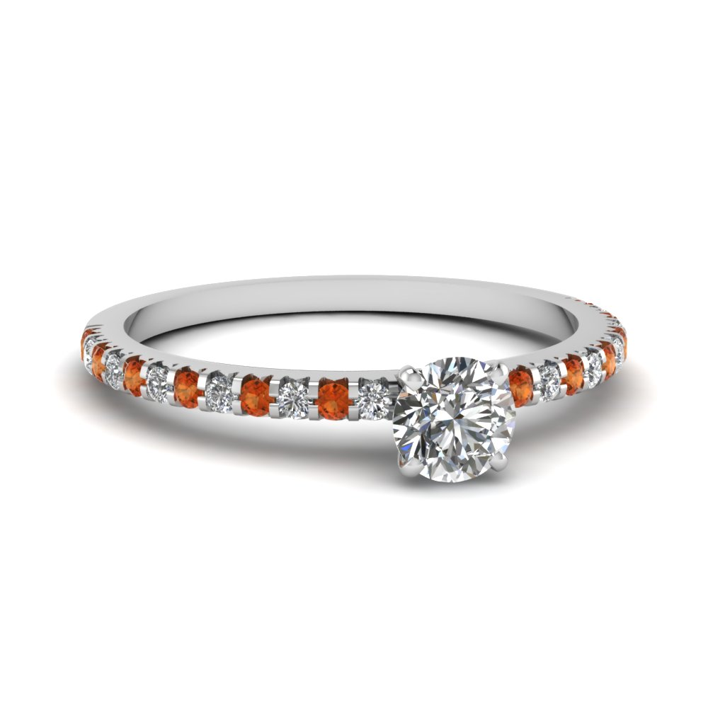 floating thin round diamond engagement ring with orange sapphire in FDENS3009RORGSAOR NL WG 30