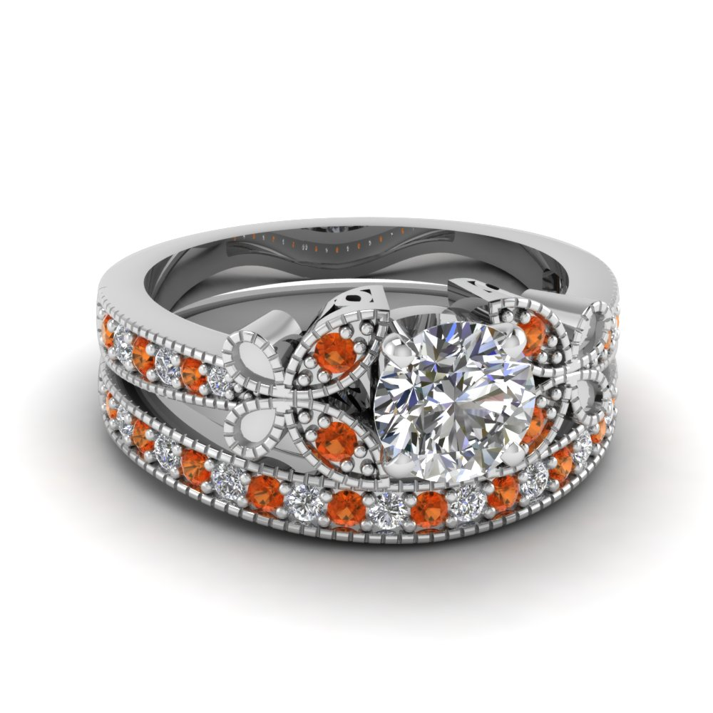 Butterfly Flat Milgrain Orange Sapphire Wedding Ring Set