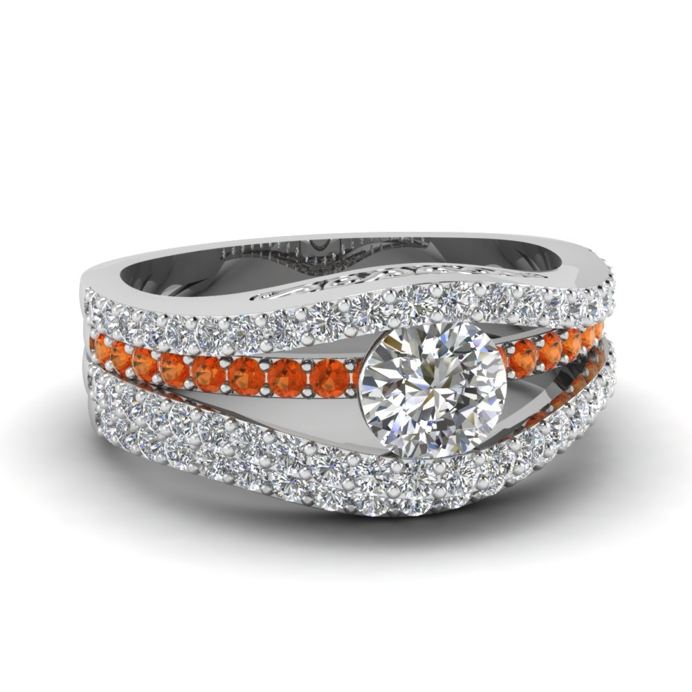 Tension Orange Sapphire Wedding Ring Set