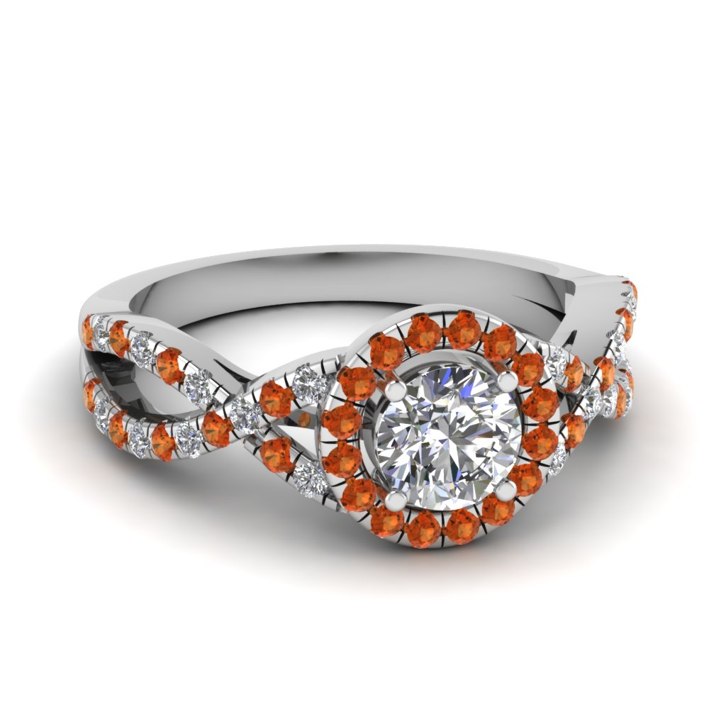 entwined halo diamond engagement ring with orange sapphire in FDENR9320RORGSAOR NL WG