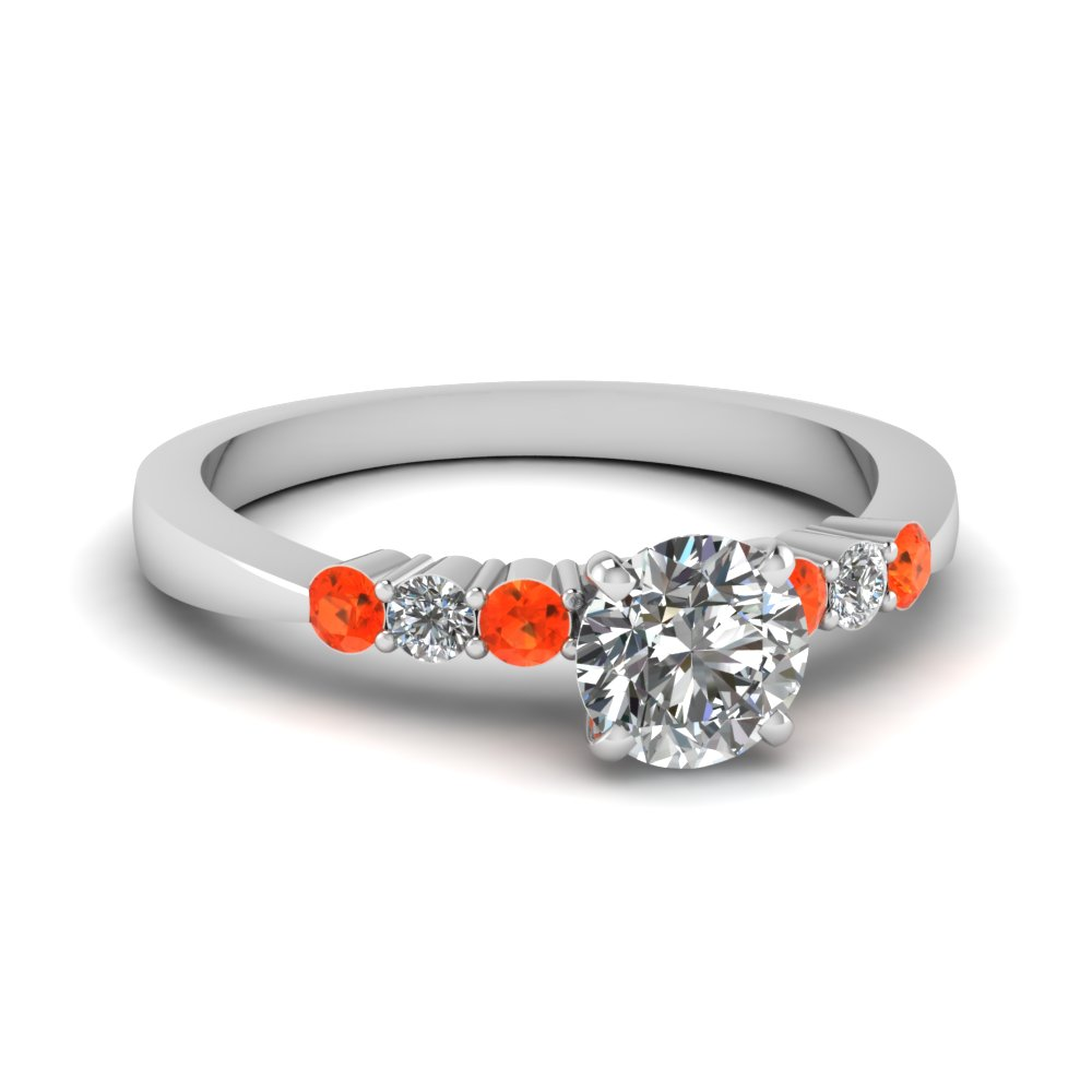 round cut tapered 7 stone engagement ring with orange topaz in FDENS750RORGPOTO NL WG