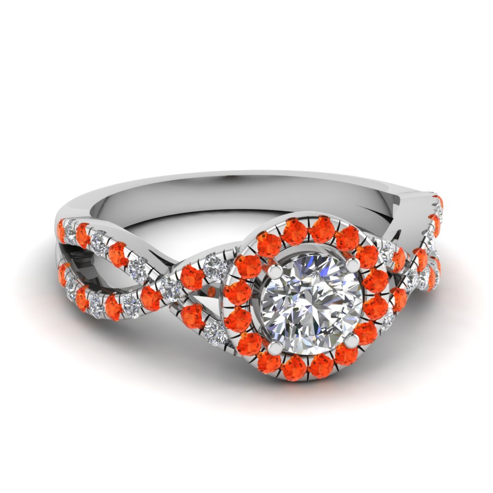 entwined halo diamond engagement ring with orange topaz in FDENR9320RORGPOTO NL WG
