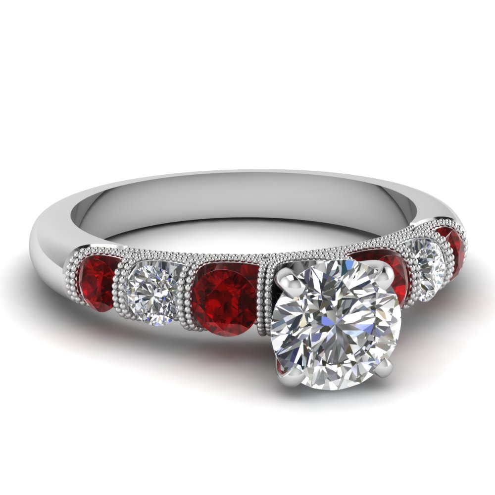 Milgrain Engagement Ring With Red Ruby