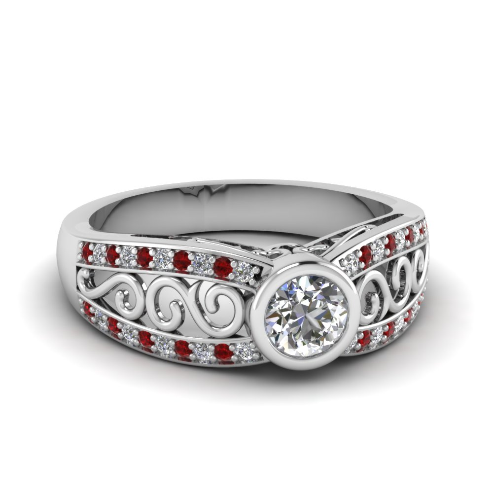 white gold round white diamond engagement wedding ring with red ruby in bezel pave set FD64933RORGRUDR NL WG